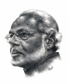 Modi | Drawing by artist Pranab Das | | pencil | Paper