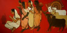 Figurative Acrylic Art Painting title 'At Pooja Diptych' by artist Siddharth Shingade
