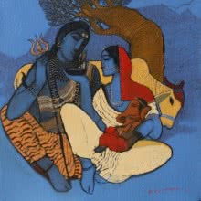Siddharth Shingade | Acrylic Painting title Shiv Parvati I on Canvas | Artist Siddharth Shingade Gallery | ArtZolo.com