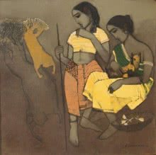 Siddharth Shingade | Acrylic Painting title Tribal Girls on Canvas | Artist Siddharth Shingade Gallery | ArtZolo.com