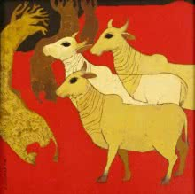 Siddharth Shingade | Acrylic Painting title Cows on Canvas | Artist Siddharth Shingade Gallery | ArtZolo.com
