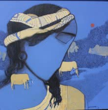 Siddharth Shingade | Acrylic Painting title Tribal Boy Blue on Canvas | Artist Siddharth Shingade Gallery | ArtZolo.com