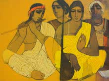 Siddharth Shingade | Acrylic Painting title Musicians II on Canvas | Artist Siddharth Shingade Gallery | ArtZolo.com
