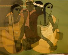 Siddharth Shingade | Acrylic Painting title Musicians III on Canvas | Artist Siddharth Shingade Gallery | ArtZolo.com
