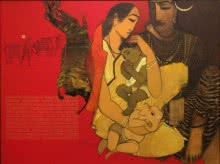 Siddharth Shingade | Acrylic Painting title Shiv Parvati III on Canvas | Artist Siddharth Shingade Gallery | ArtZolo.com