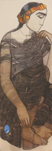 Siddharth Shingade | Charcoal Painting title A Boy on Canvas | Artist Siddharth Shingade Gallery | ArtZolo.com