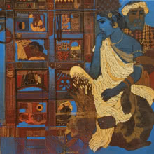 Siddharth Shingade | Acrylic Painting title Blue Door on Canvas | Artist Siddharth Shingade Gallery | ArtZolo.com