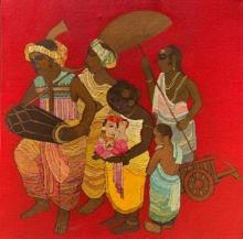 Religious Acrylic Art Painting title Ganesha by artist Siddharth Shingade