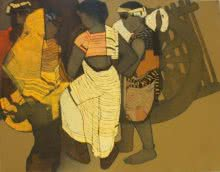 Siddharth Shingade | Acrylic Painting title Gossipping on Canvas | Artist Siddharth Shingade Gallery | ArtZolo.com