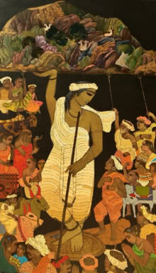 Siddharth Shingade | Acrylic Painting title Govardhan 3 on Canvas | Artist Siddharth Shingade Gallery | ArtZolo.com