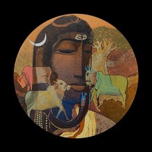 Religious Acrylic Art Painting title Lord Shiva by artist Siddharth Shingade