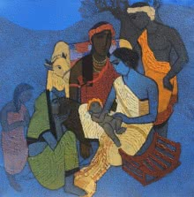 Figurative Acrylic Art Painting title 'Naamkaran' by artist Siddharth Shingade