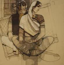 Siddharth Shingade | Acrylic Painting title Old Couple on Canvas | Artist Siddharth Shingade Gallery | ArtZolo.com