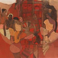 Siddharth Shingade | Acrylic Painting title Red Door on Canvas | Artist Siddharth Shingade Gallery | ArtZolo.com