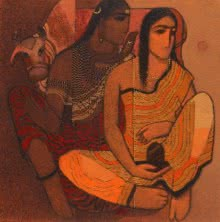 Siddharth Shingade | Acrylic Painting title Shiv And Parvati 1 on Canvas | Artist Siddharth Shingade Gallery | ArtZolo.com