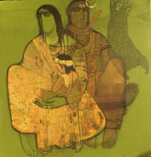 Shiv And Parvati 3 | Painting by artist Siddharth Shingade | acrylic | Canvas