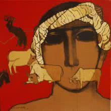 Siddharth Shingade | Acrylic Painting title The Shepherd Boy on Canvas | Artist Siddharth Shingade Gallery | ArtZolo.com