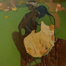 Figurative Acrylic Art Painting title Village 11 by artist Siddharth Shingade