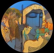 Figurative Acrylic Art Painting title Village 13 by artist Siddharth Shingade