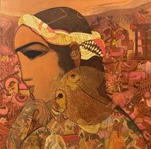 Figurative Acrylic Art Painting title Village 14 by artist Siddharth Shingade