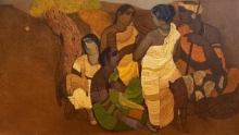 Figurative Acrylic Art Painting title 'Village 6' by artist Siddharth Shingade