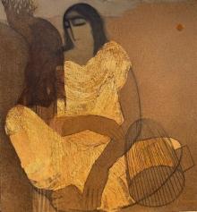 Figurative Acrylic Art Painting title 'Village Women' by artist Siddharth Shingade