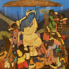 Siddharth Shingade | Acrylic Painting title Vrindavan 2 on Canvas | Artist Siddharth Shingade Gallery | ArtZolo.com