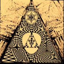 Pop Art Acrylic Art Painting title Golden Pyramid by artist Manju Lamba