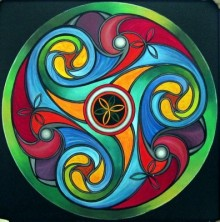 Manju Lamba Paintings | Abstract Painting - Wheel Of Life by artist Manju Lamba | ArtZolo.com