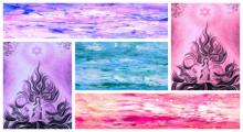 Abstract Acrylic Art Painting title 'Collage 5' by artist Manju Lamba