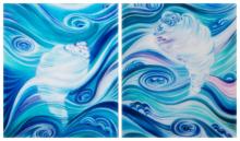 Abstract Acrylic Art Painting title 'Sea Shells' by artist Manju Lamba