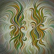 Abstract Acrylic Art Painting title 'Soulmates Sienna' by artist Manju Lamba