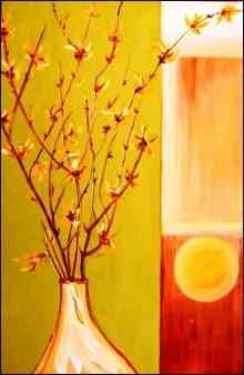 Nature Acrylic Art Painting title 'SunBlooms' by artist Manju Lamba