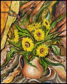 Still-life Acrylic Art Painting title Sunflowers in a Vase by artist Manju Lamba