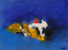 Sadhna Raddi Paintings | Abstract Painting - Blue Ride II by artist Sadhna Raddi | ArtZolo.com