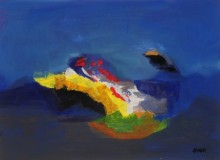 Sadhna Raddi Paintings | Abstract Painting - Blue Ride IV by artist Sadhna Raddi | ArtZolo.com
