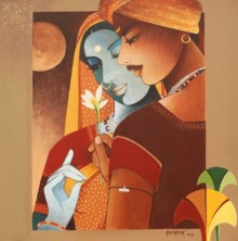 Figurative Acrylic Art Painting title 'Love I' by artist Agacharya A