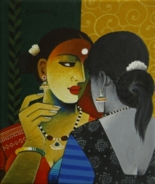 Figurative Acrylic Art Painting title 'Indian Woman 5' by artist Agacharya A
