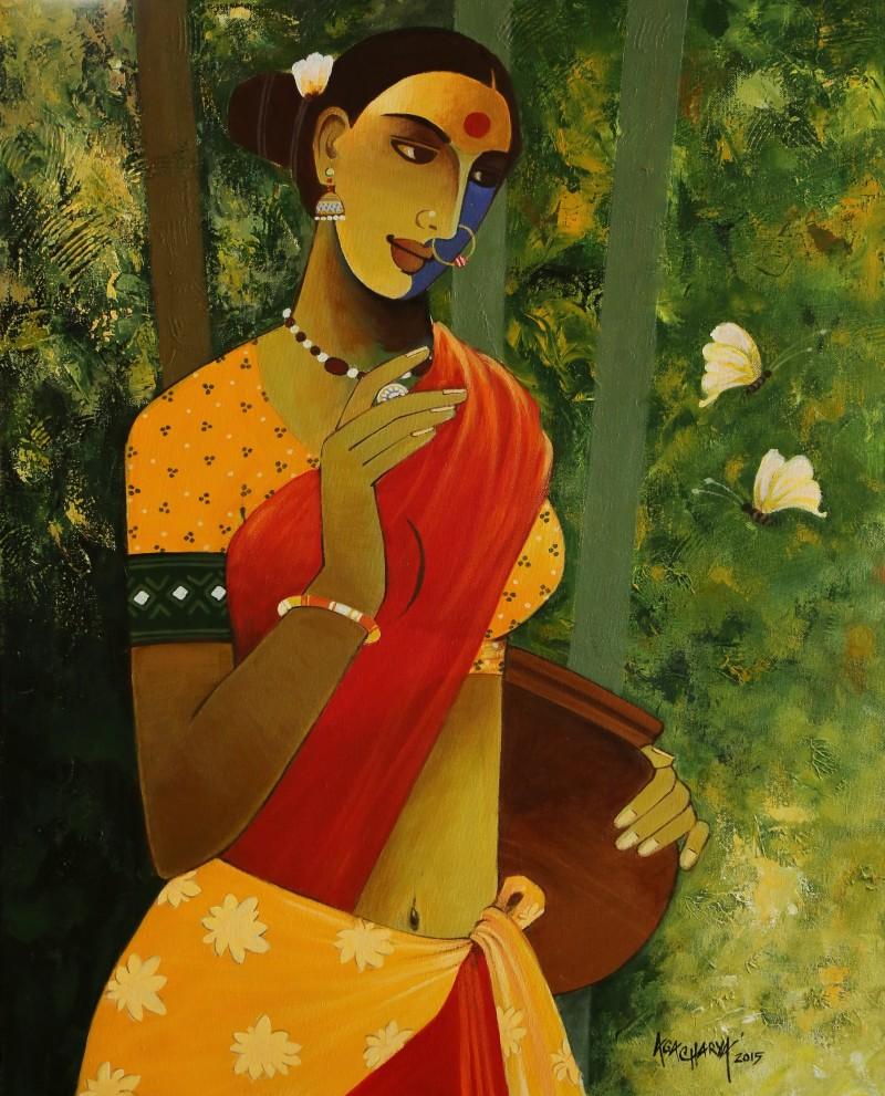 Indian Woman Iii By Artist Agacharya A Artzolo Com