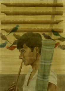 Figurative Watercolor Art Painting title 'The Pied Piper' by artist Gulab Kapadiya