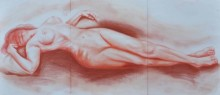Bhavesh Patel | Dry-pastel Painting title Nude I on Paper | Artist Bhavesh Patel Gallery | ArtZolo.com