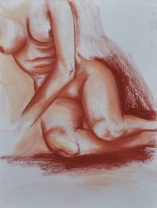 Bhavesh Patel | Dry-pastel Painting title Nude III on Paper | Artist Bhavesh Patel Gallery | ArtZolo.com