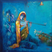 Figurative Acrylic Art Painting title 'Meera With Krishna' by artist Ram Onkar