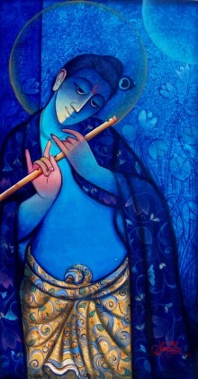 Figurative Mixed-media Art Painting title 'Krishna With Flute Blue' by artist Ram Onkar