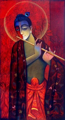 Figurative Mixed-media Art Painting title 'Krishna With Flute Red' by artist Ram Onkar