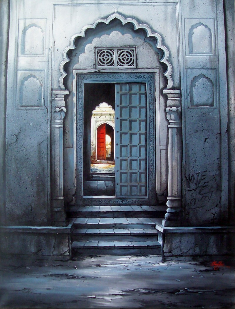 Indian Door By Artist Ram Onkar Cityscape Art Mixed