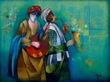 Figurative Mixed-media Art Painting title 'Musician Duo' by artist Ram Onkar