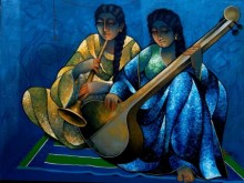 Figurative Mixed-media Art Painting title 'Saheli Playing Music' by artist Ram Onkar