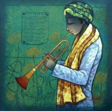 Figurative Mixed-media Art Painting title 'Musician I' by artist Ram Onkar