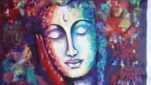 Expressionist Acrylic Art Painting title 'At Peace' by artist Purnima Gupta